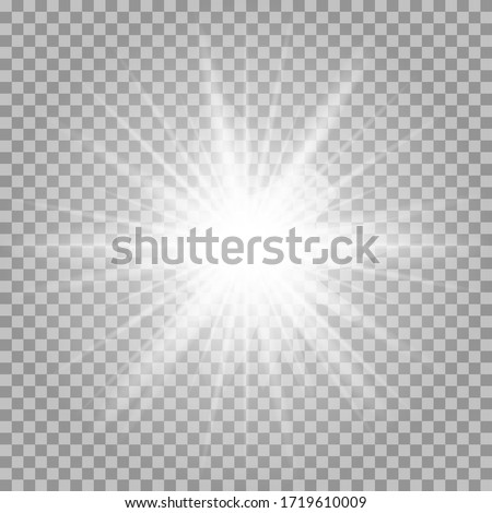 White glowing light burst explosion transparent. Vector illustration for cool effect decoration with ray sparkles. Bright star. Transparent shine gradient glitter, bright flare. Glare texture.