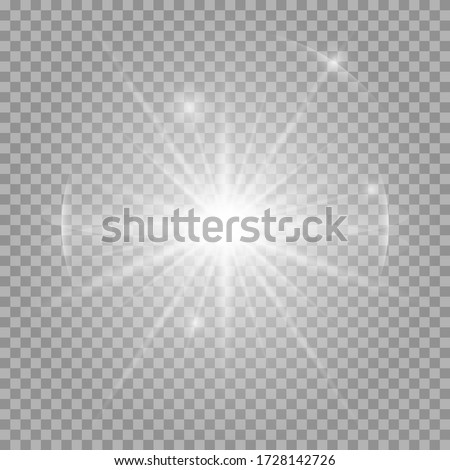 White glowing light burst explosion with transparent. Vector illustration for cool effect decoration with ray sparkles. Bright star. Transparent shine gradient glitter, bright flare. Glare texture. Сток-фото ©