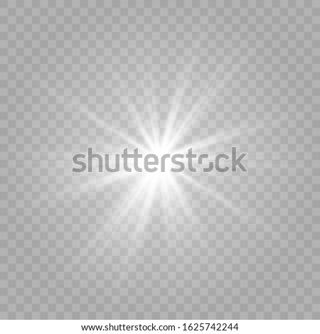 White glowing light burst explosion with transparent. Vector illustration for decorating cool effect with radiation sparkles. Bright Star. Transparent glitter shine gradient, bright flash. Texture gla Photo stock ©