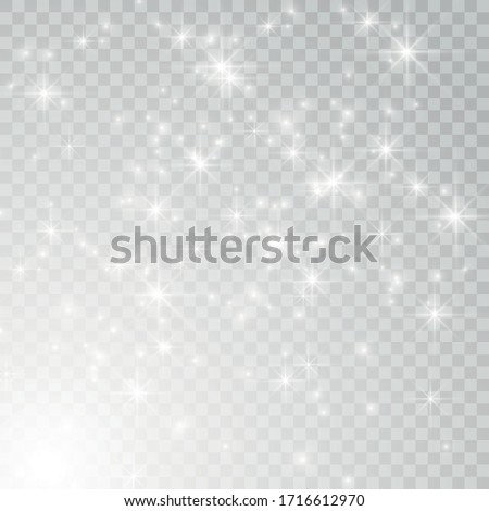 White glowing light effect isolated on transparent background. Shining flare. Magic glitter dust particles. Star burst with sparkles. Vector illustration ストックフォト ©