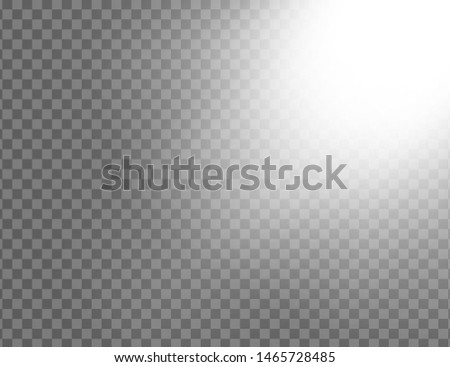 White glowing light explodes isolated on transparent background. Sun rays. Paradise glow. Realistic decoration effect. Vector illustration