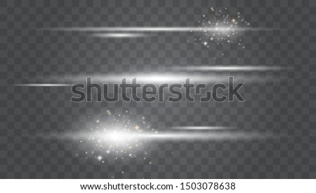 White glowing light explodes on a transparent background.Laser beams, horizontal light rays.Transparent Lens Flare.Vector illustration EPS10