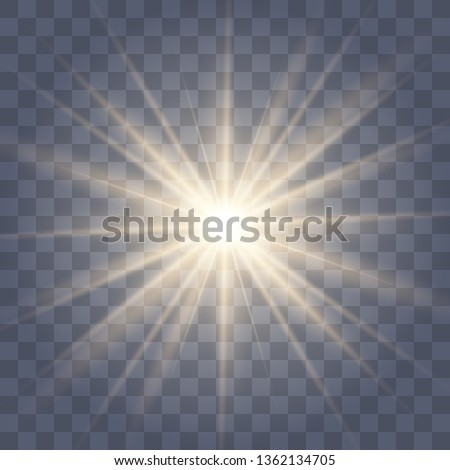 White glowing light explodes on a transparent background. with ray. Transparent shining sun, bright flash.Glow light effect. Star burst with sparkles.