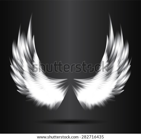 White Glowing Stylized Angel Wings On A Black Background Vector