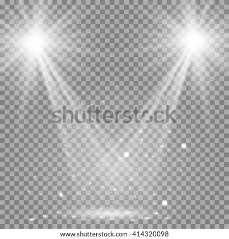 Shutterstock White glowing transparent disco lights background.  Bright lighting effect disco lights. Realistic studio vector illumination.