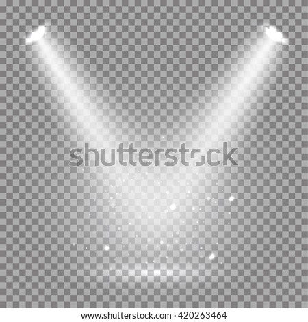 Shutterstock White glowing transparent disco lights background.  Bright lighting effect disco lights. Realistic studio vector illumination.