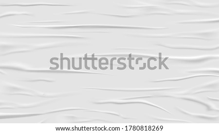 White glued and wrinkled paper background. Wet and crease realistic tape. Crumpled and grunge surface. Poster backdrop. Scotch and duct, rubber empty sticker. Textured and wrinkle theme