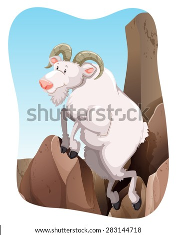 white goat climbing up a