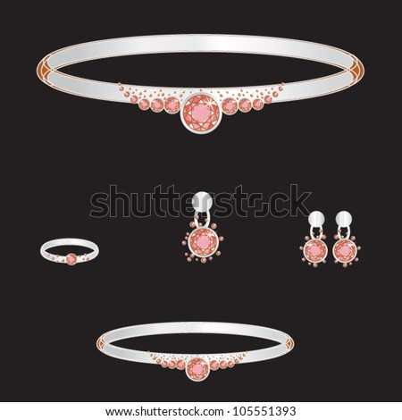 white gold set from necklace ring earrings brooch and bracelets with red brilliants on black background