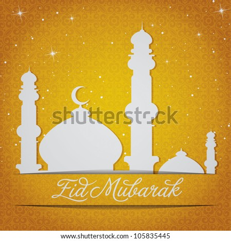 """White gold/silver Mosque and stars """"Eid Mubarak"""" (Blessed Eid) card in vector format."""