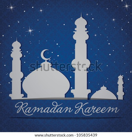 "White gold/silver Mosque and stars ""Ramadan Kareem"" (Generous Ramadan) card in vector format."