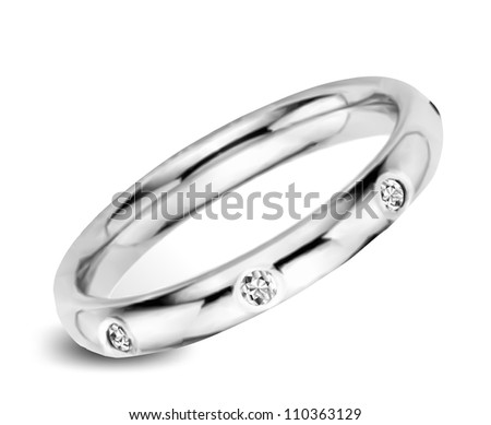 White golden ring with diamonds. Vector