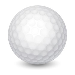 White Golf Ball. Realistic Vector Illustration. Isolated on White Background.