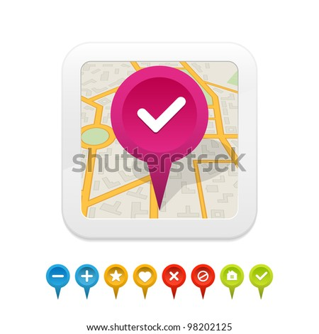 White gps navigator icon with labels. Vector illustration.