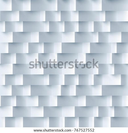 White-gray three-dimensional abstract parallel bands with wave effect. Background or seamless pattern