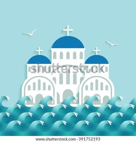 white greek church near blue