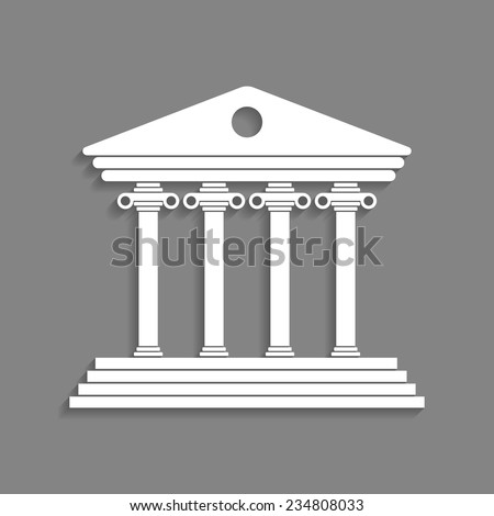 white greek colonnade isolated on dark grey background concept of lawyer justice palace judge monumental facade and courtroom trendy modern logo branding design vector illustration