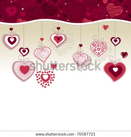 White greeting card with hanging stylized hearts