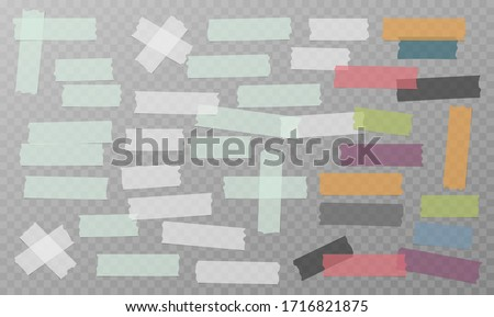 White, grey and colorful different size adhesive, sticky, masking, duct tape, paper pieces are on white background Photo stock ©