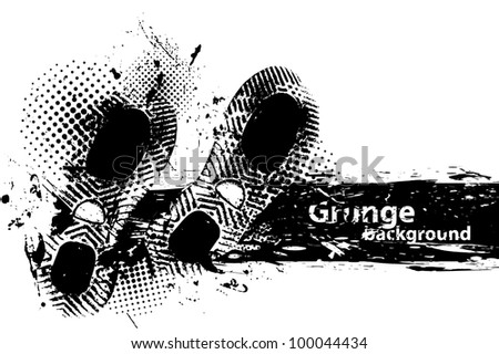 White grunge background with two black footprint