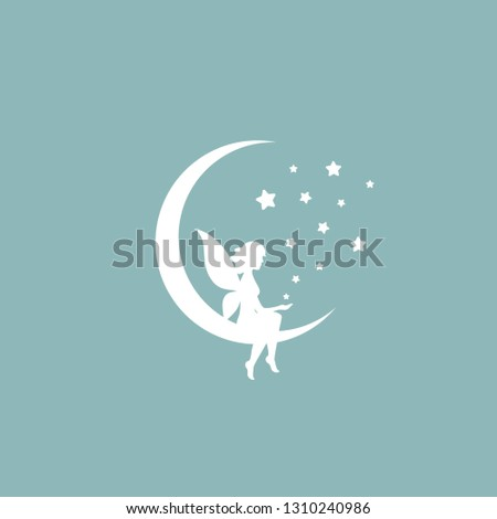 White half moon and stars and fairy. Magic, fantasy. Isolated on powder blue background. Flat design. Vector illustration. Children reading. Fairytale logo.