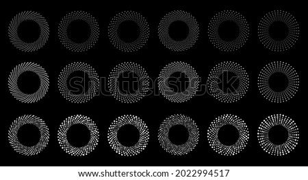 White halftone circular dotted frames set. Circle dots on black background. Logo design element for medical, treatment, cosmetic. Round border using halftone circle dots texture. Vector