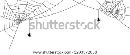 White Halloween banner with spiderweb and spiders. Vector background. #1203372058