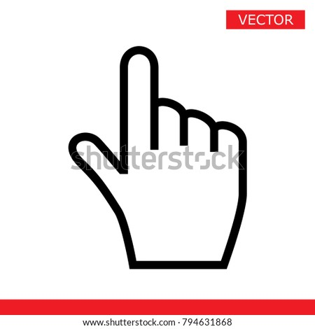 White hand cursor pointer icon. Flat version vector illustration