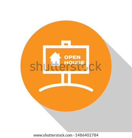 White Hanging sign with text Open house icon isolated on white background. Signboard with text Open house. Orange circle button. Vector Illustration