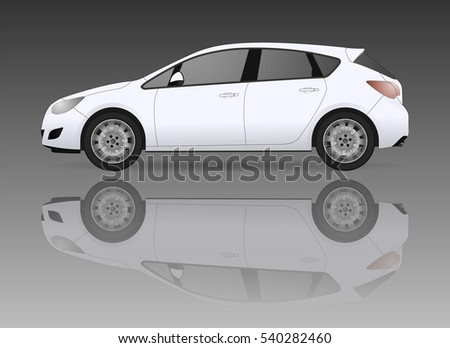 white hatchback car  isolated