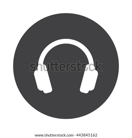 White Headphones icon on black button isolated on white