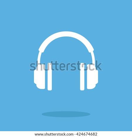 white headphones icon vector