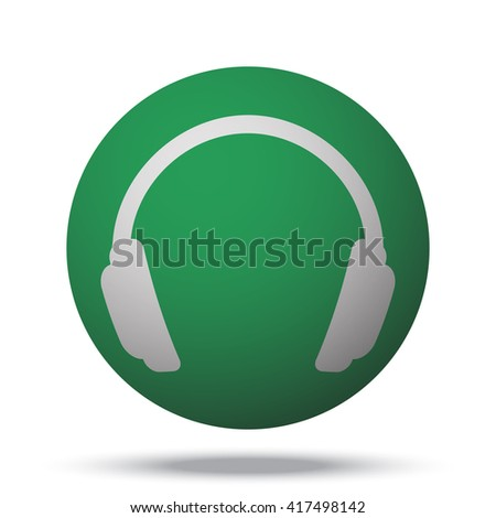 White Headphones web icon on green ball