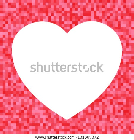 White Heart icon on Red Pixel Background, vector illustration