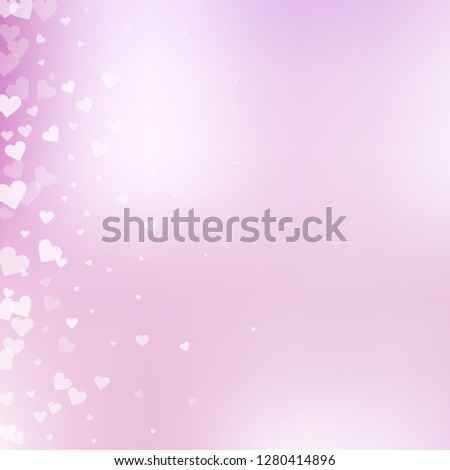 White heart love confettis. Valentines day gradient unusual background. Falling transparent hearts confetti on delicate background. Exceptional vector illustration.