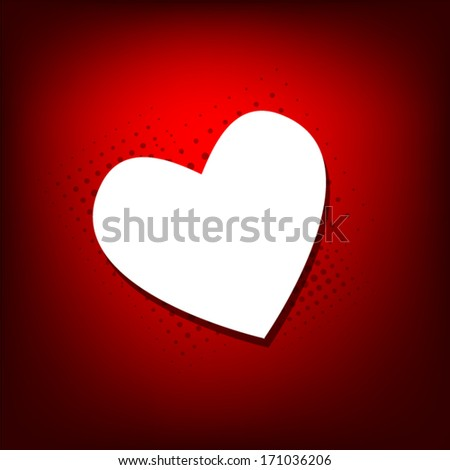 white heart on a red background. Vector