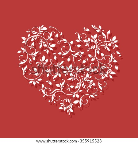 White heart on red background. Valentine card. Lace heart. Floral pattern.