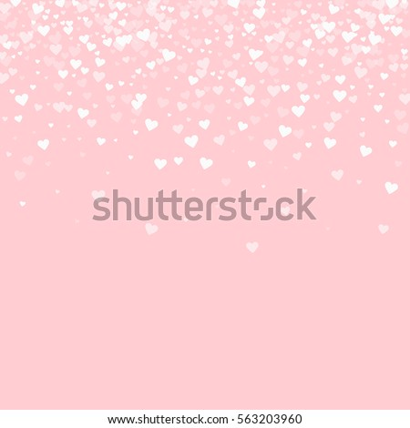 White hearts confetti. Scatter top gradient on pale_pink valentine background. Vector illustration.