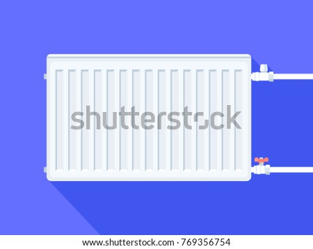 White heating radiator. Home heating system. Vector illustration