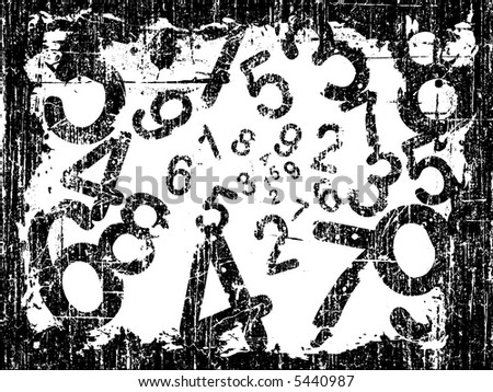 white Heavy Grunge Illustration with Acid Etched Numbers (Layered Vector)