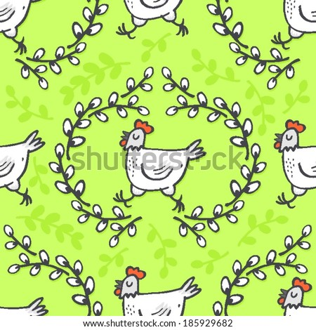White hen in willow wreath spring holiday Easter illustration on green background seasonal animal seamless pattern