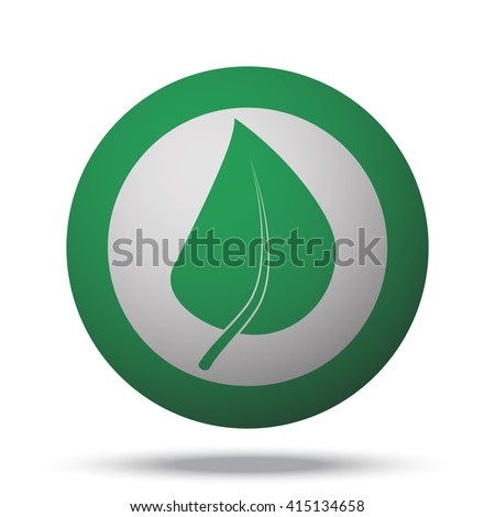 white herbs icon on green ball