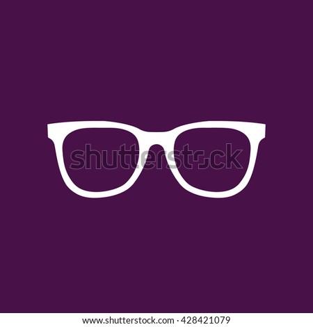 White hipster glasses icon vector illustration. Purple background