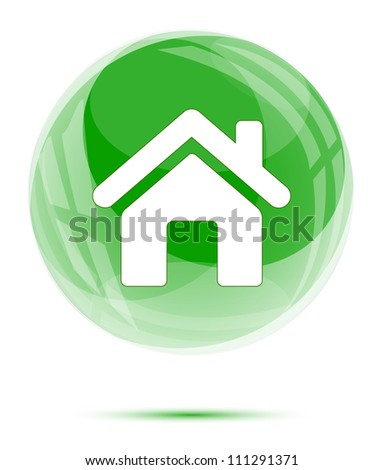 White home icon in the green glass sphere