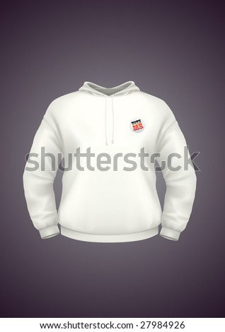 White hoodie design template with badge. VECTOR, contains gradient mesh elements. More clothing designs in my portfolio!