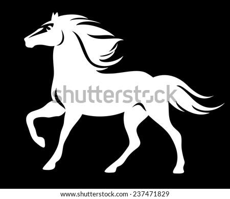 white horse on black   running