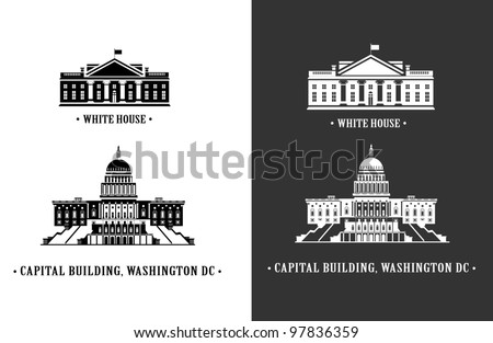 White house and Capitol building in Washington DC