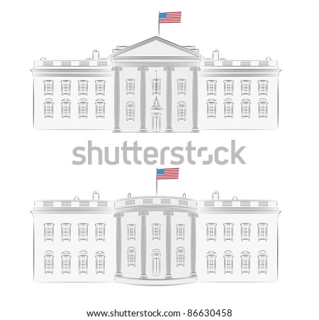 White House - Detailed Vector Illustration Of Front And ...
