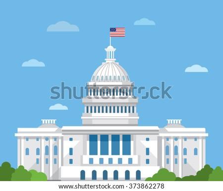 White house vector flat illustration. Washington DC.