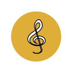 White icon with black outline musical treble clef in a yellow circle. Category of music and audio entertainment for applications. Vector graphics.